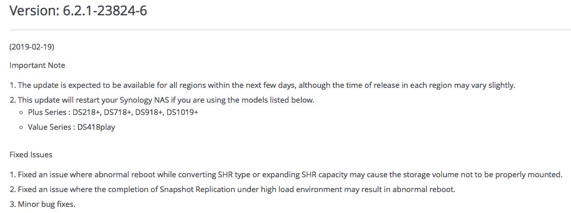 DSM 6 2 1-23824 Update 6 - DSM Updates Reporting - XPEnology
